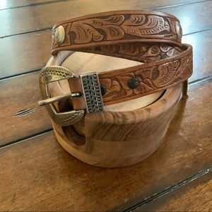 Vegan leather tooled western belt